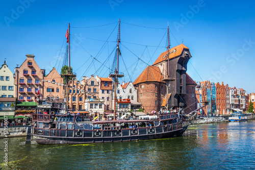 Gdansk old town and famous crane, Polish Zuraw. Motlawa river in Poland.