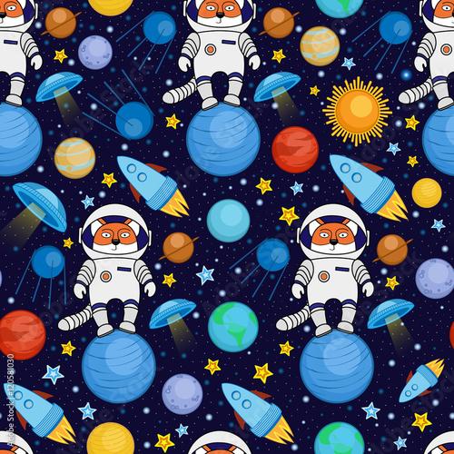 bezszwowa-kreskowka-astronautyczny-wzor-lisa-astronauta-statek-kosmiczny-planety-satelity