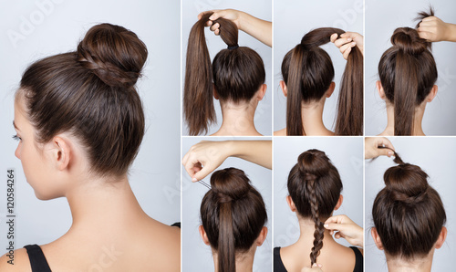 Hairstyle Tutorial Elegant Bun With Braid Buy This Stock Photo And