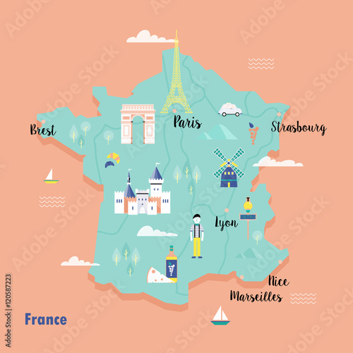 Canvas Print Colorful map of France in retro style with popular landmarks.