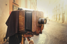 Wooden Retro Camera Outdoors