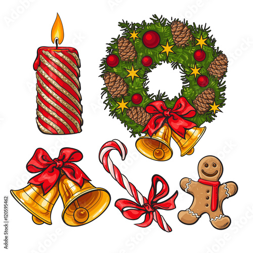 Set Of Traditional Christmas Decoration Objects Cartoon