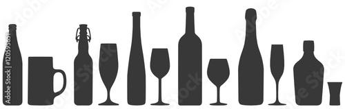 Alkoholische Getränke Silhouetten