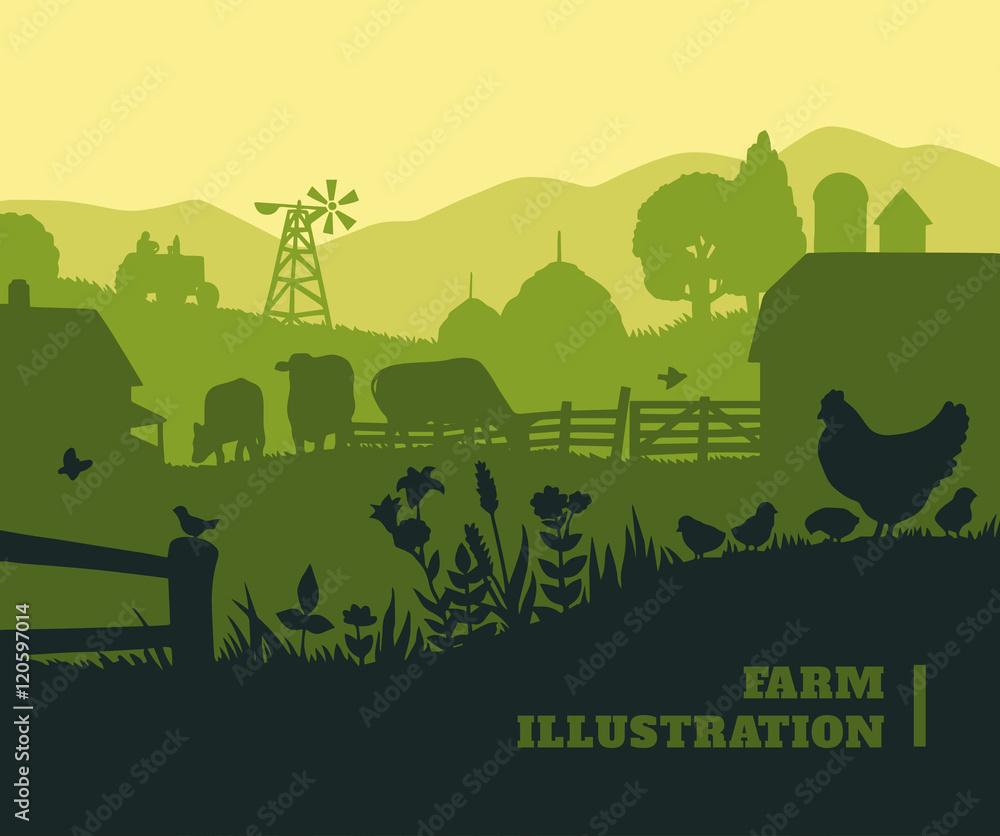 Fototapeta Farm illustration background, colored silhouettes elements, flat