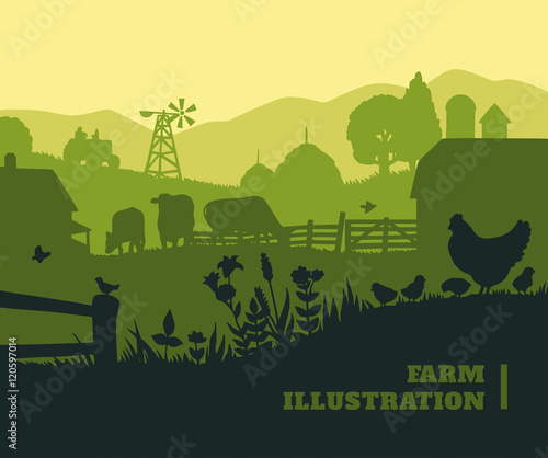 Foto  Farm illustration background, colored silhouettes elements, flat