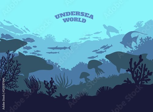 Fotografie, Obraz  Undersea world illustration background, colored silhouettes elements, flat