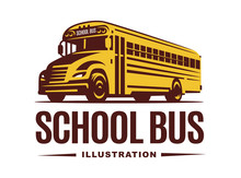 School Bus Illustration On Lig...