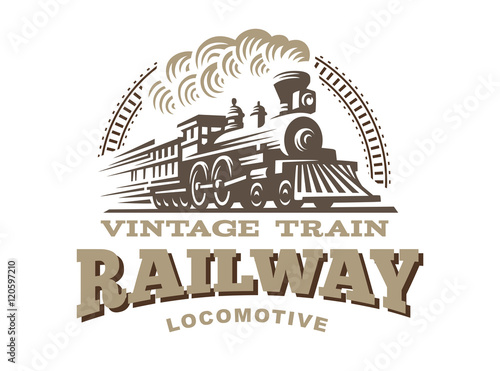 Photo Locomotive logo illustration, vintage style emblem