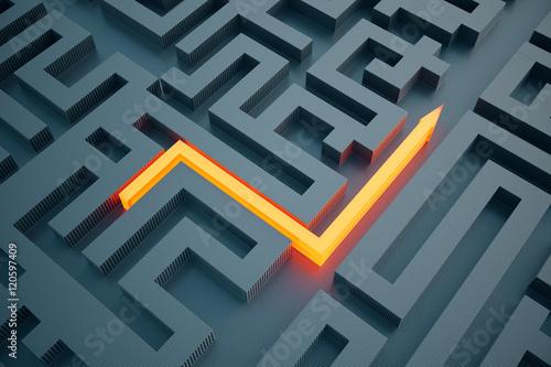 Orange arrow going through maze Wallpaper Mural