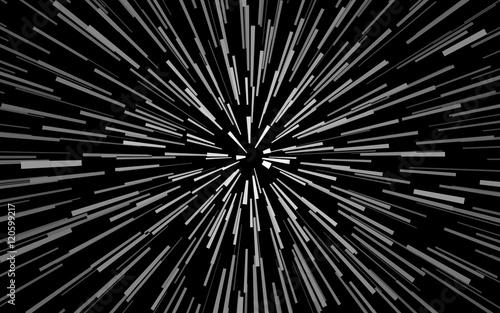 Promieniowe białe koncentryczne cząstki na czarnym tle Efekt powiększenia