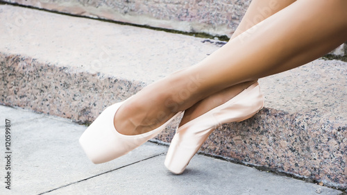 Sexy Female Legs By Afanasyeva_t Feet Dressed In Dance Pointe Shoes Sports Shoes On The Background Of Stone Steps