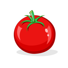 One Red Tomato Isolated On Whi...