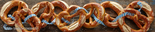 Panoramic banner of salted Bavarian pretzels Fototapet