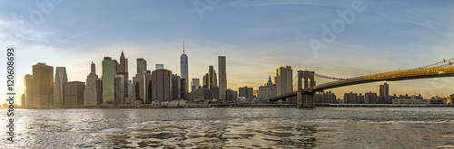New York, Panorama, skyline,america, Manhattan Downtown urban view with Brooklyn bridge