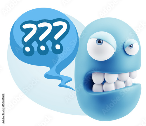 3d Illustration Angry Face Emoticon Saying With Colorful Spe