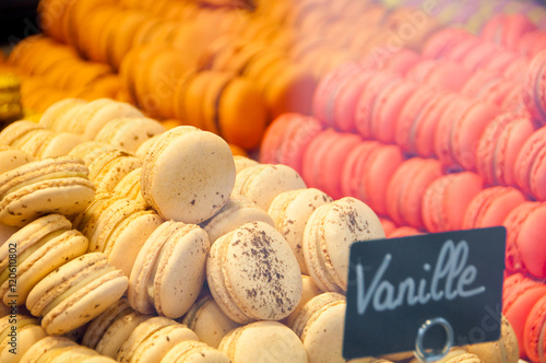 Fotobehang Macarons Colorful french sweets macarons in shop window