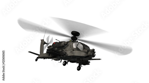 Fotografia armed longbow apache helicopter in flight isolated on white