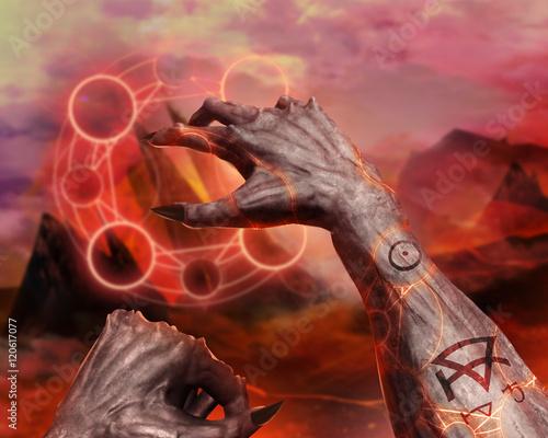 3d illustration of a demon hands spelling 3d first person demonic 3d illustration of a demon hands spelling 3d first person demonic hands with claws casting voltagebd Images