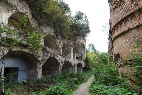 Foto op Aluminium Rudnes Brick destroyed wall . Ruins of old fort Tarakanovskiy. Dubno. U