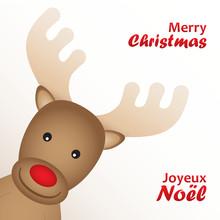 Carte Bilingue JOYEUX NOEL | MERRY CHRISTMAS Avec Renne