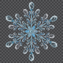 Big Transparent Crystal Snowflake. Transparency Only In Vector File