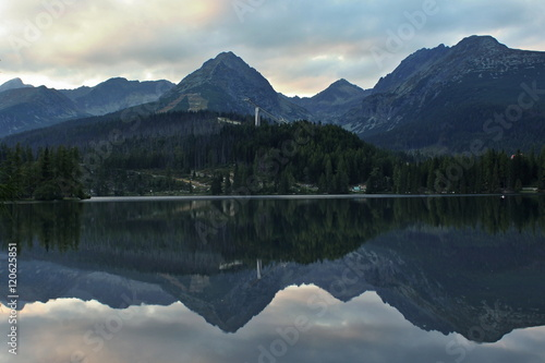Reflection mountain in lake.