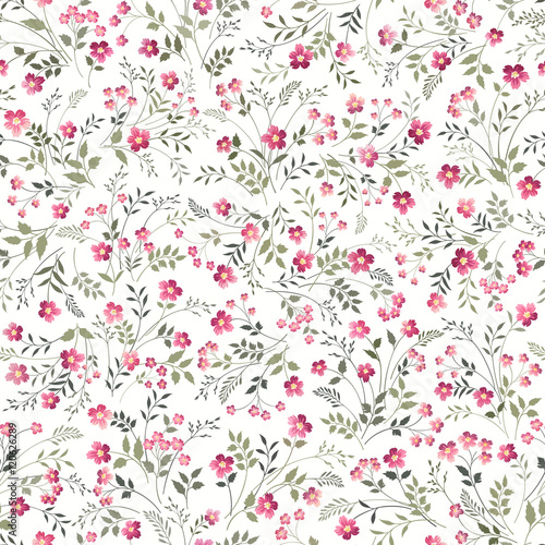 Canvastavla  seamless floral pattern on white background