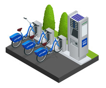 Various Bicycles On A Rack, Available For Rent. Isometric Citi Bikes.