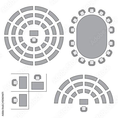 Fotografía Business, education and government furniture symbols used in architecture plans icons set, top view, graphic design elements, grey isolated on white background, vector illustration
