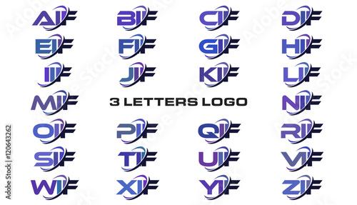 3 Letters Modern Generic Swoosh Logo Aif Bif Cif Dif Eif Fif