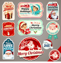Vector Set Of Vintage Christmas Labels, Badges And Banners With Santa Claus, Present, Children, Tree, Sleigh, Reindeers And Hat Illustrations In Retro Style. Typographic Design Elements.