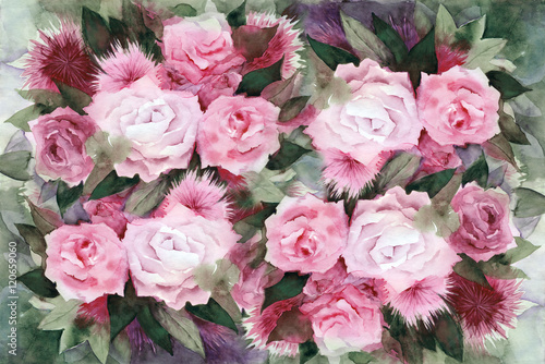 Watercolor painting. Background with pink roses and green leaves. - 120659060