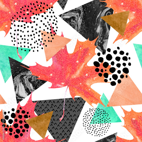 Wall Murals Graphic Prints Abstract autumn geometric seamless pattern.
