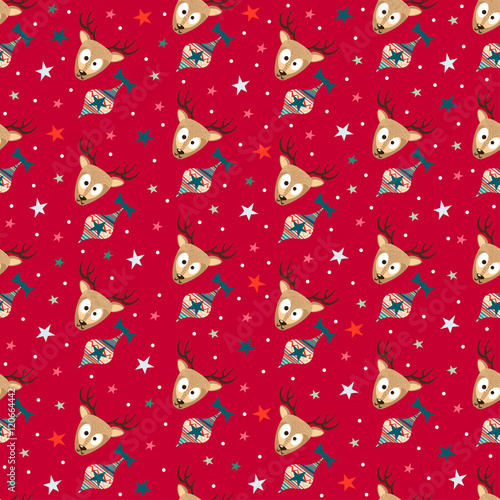 Cotton fabric Red Merry Christmas Seamless Pattern Background with Cute Deers, Christmas Tree Toys and Stars. Cute New Years Xmas Gift Wrapping Paper