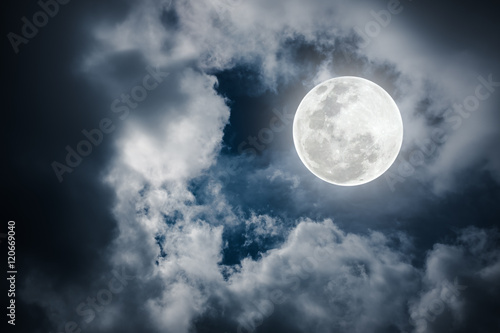 Fototapety, obrazy: Nighttime sky with cloudy and bright full moon would make a great background.
