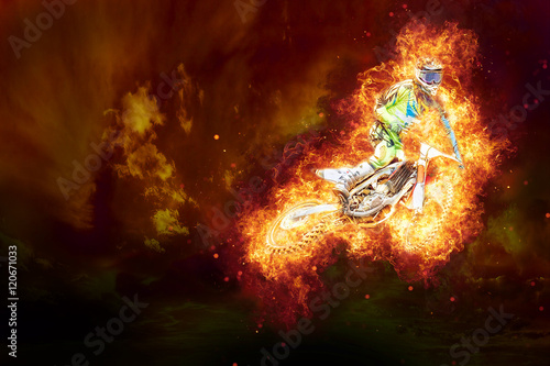 Motocross on fire