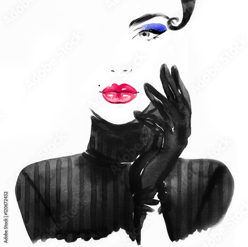 Canvas Prints Watercolor Face Style woman portrait. Abstract fashion watercolor illustration