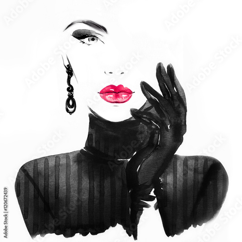 Style woman portrait. Abstract fashion watercolor illustration - fototapety na wymiar