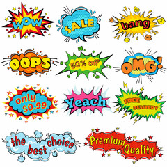 Comic sound effects in pop art vector style. Sound bubble speech with word and comic cartoon expression sounds illustration