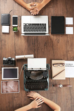 Old Typewriter And Laptop, Concept Of Technology Progress