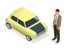 Isometric Classic Mini Model Car And Man