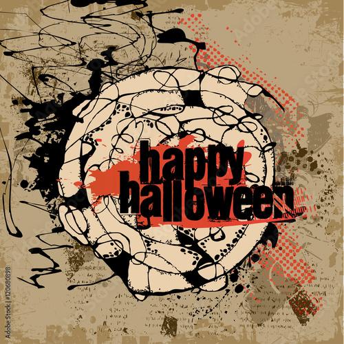 Papiers peints Visage de femme Abstract vector Halloween grunge design card