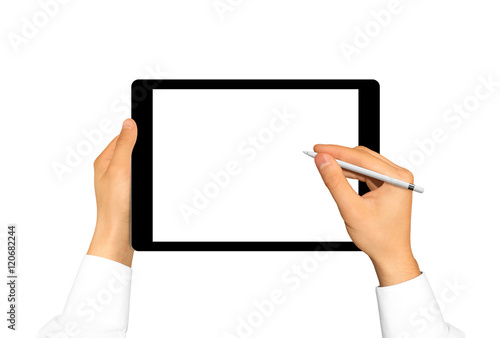 Hand Holding Stylus Near Graphic Tablet Blank Screen Empty Tab
