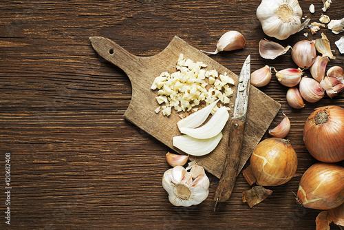 Fototapeta Garlic and onions obraz