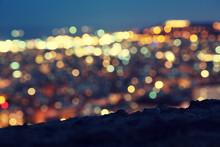 Bokeh Of Night Barcelona, Spain