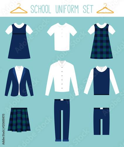 Obraz na płótnie School Uniforms for Children. Kids Clothes Vector Set