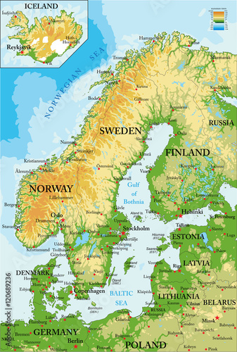 Obraz na plátně Scandinavia-physical map