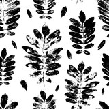 Seamless pattern with paint prints of leaves  - 120689614