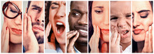 Group People With Toothache. Men Women Kid With Tooth Pain