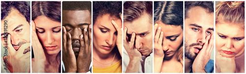 Collage group of sad depressed people. Unhappy men women Wallpaper Mural